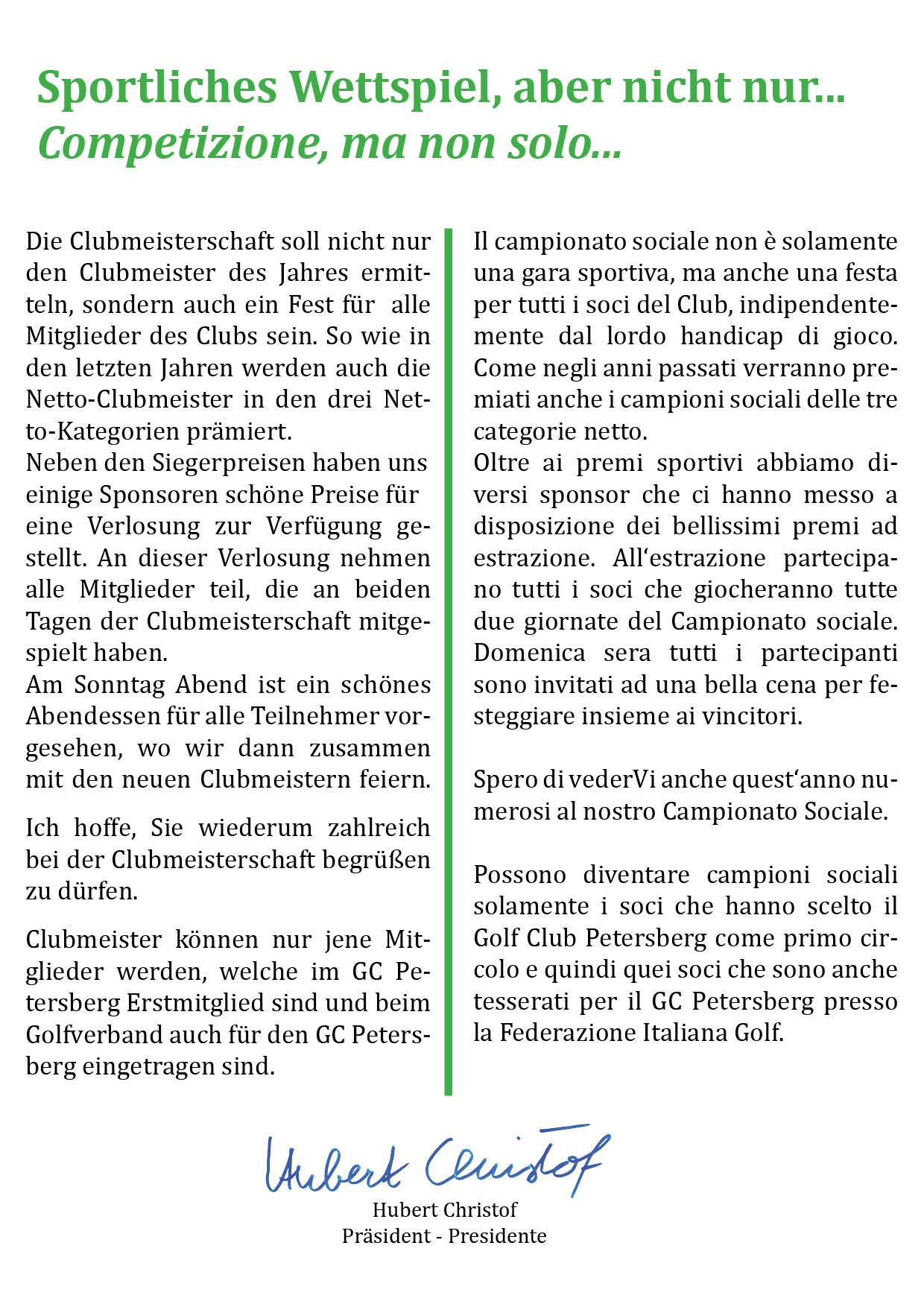 CLUBMEISTERSCHAFT - CAMPIONATO SOCIALE Clubmeisterschaft 20172 1