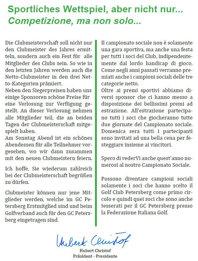 CLUBMEISTERSCHAFT - CAMPIONATO SOCIALE CM CS 2