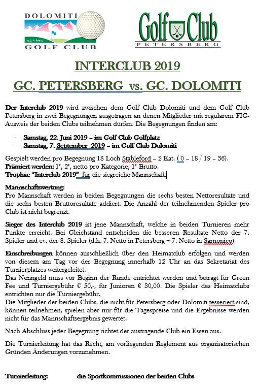 INTERCLUB GC PETERSBERG - GC DOLOMITI Interclub DT