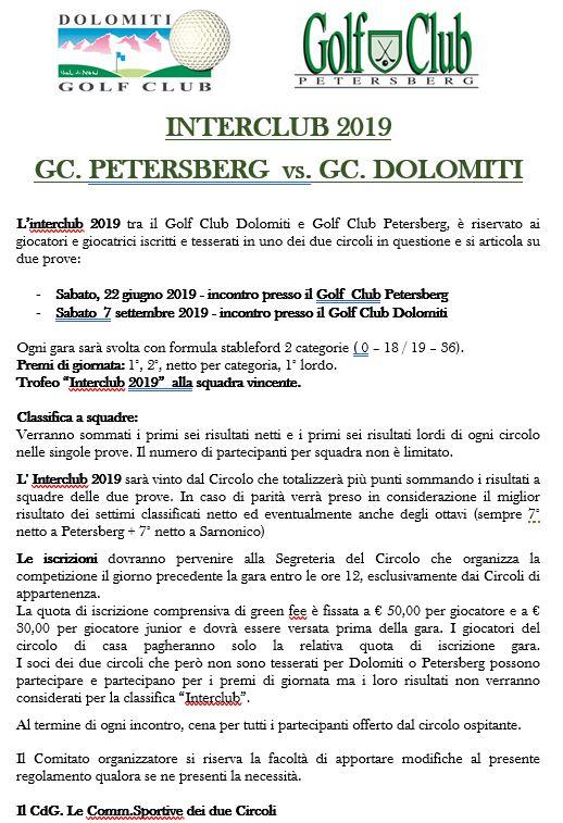 INTERCLUB GC PETERSBERG - GC DOLOMITI Interclub ital
