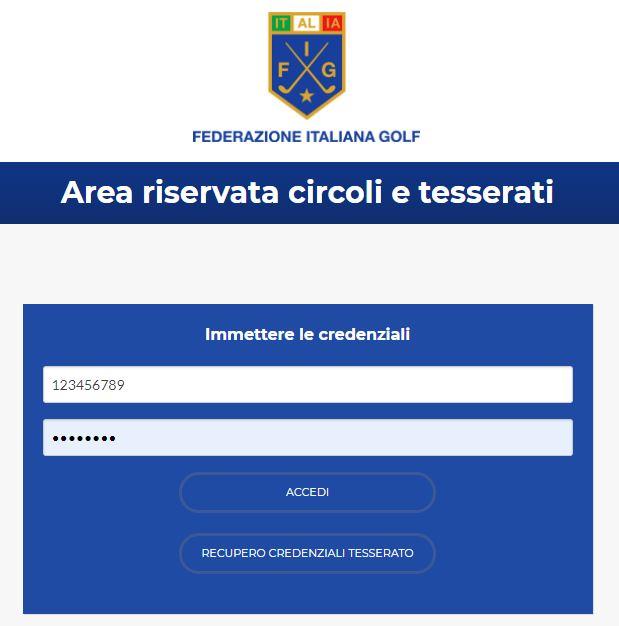 Area Riservata FIG - Handicap / Golfverband - -