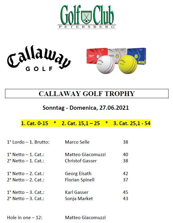 CALLAWAY - ODYSSEY GOLF CUP Callaway Premiati